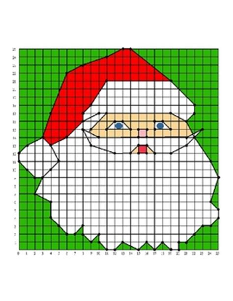 Santa Christmas Holiday Coordinate Graphing  Ordered Pairs Practice