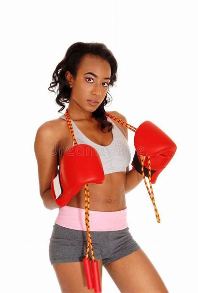 Gloves Boxing Rope Athletic Wearing Woman Pretty