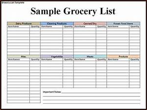 Grocery List Template.Blank Grocery Shopping List Template ...