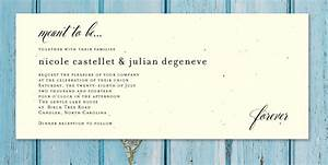 plantable wedding invitations on seeded paper beginnings With wedding invitation wording same venue ceremony and reception