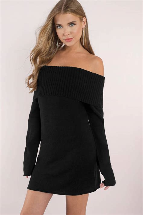 Black Off The Shoulder Sweater - Baggage Clothing
