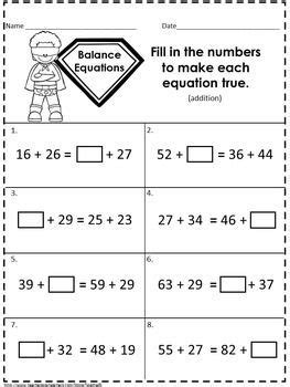 balancing equations addition and subtraction 2nd grade