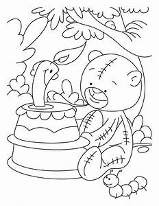 Candle Smiling On Teddy Bears Birthday Coloring Pages ...