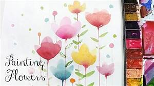 [LVL2] Painting Easy Simple Flowers, Watercolor painting ...