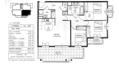 plan de maison plain pied 4 chambres gratuit plan appartement 80m2 3 chambres