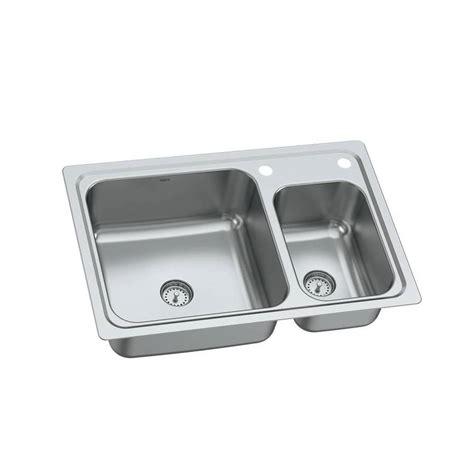 double stainless steel kitchen sink shop moen gibson 19 gauge double basin drop in or