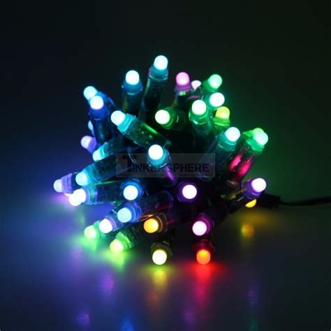 rgb led christmas lights 48 99 programmable lights diffused rgb led pixels strand of 50 ws2811 tinkersphere