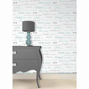 56.4 sq. ft. Happy Home Aqua Text Wallpaper