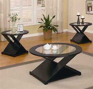 rich black finish modern 3pc coffee table set w round With black and glass coffee table sets