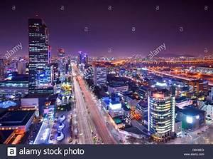 Gangnam District, Seoul, South Korea skyline at night ...