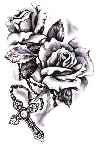 Cross and Rose Tattoo Drawings