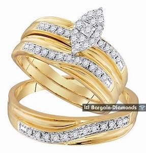 Diamond 33 Carat 3 Ring Bridal 10K Gold Engagement