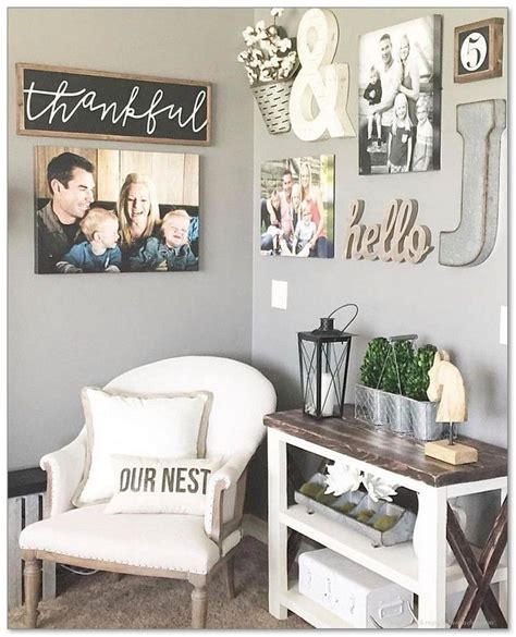 See our favorite ideas for farmhouse wall decor, below, and get started on an easy makeover today! 99+ DIY Farmhouse Living Room Wall Decor And Design Ideas   Home decor, Decor, Room wall decor