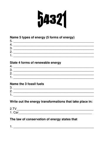 energy worksheet 5 4 3 2 1 starter activity by klawrie1107 teaching resources