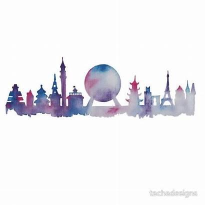 Disney Epcot Silhouette Skyline Clipart Park Theme
