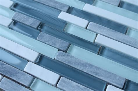 Bliss Waterfall Stone and Glass Linear Mosaic Tiles