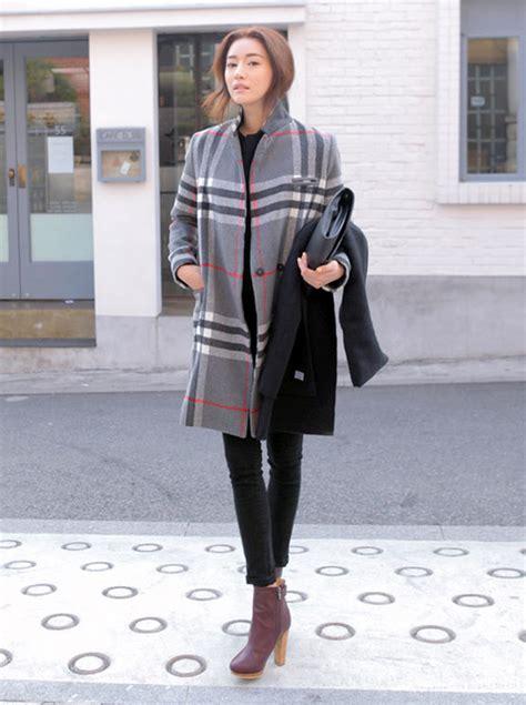 stylenanda single concealed snap check coat kstylick