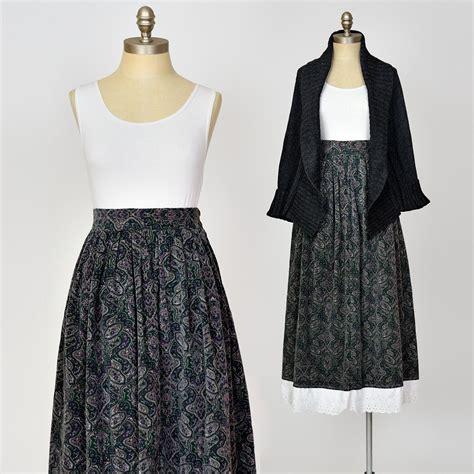 Vintage 80s Prairie Skirt Talbots Paisley Print Forest ...