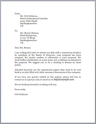 sample proposal acceptance letter  sample letters