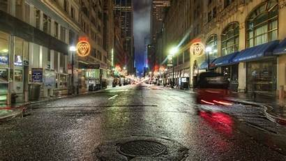 Street Background Night Wallpapers Streets Nyc Rain