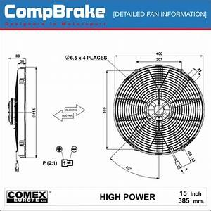 Comex 12v High Power Cooling Fan 15 2 U0026quot   385mm  Pusher  Blower
