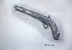 Drawing in Pencil Sketch of Weapons