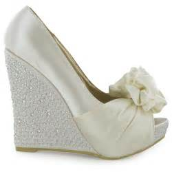 satin ivory wedding shoes ivory peeptoe wedge heeled satin wedding shoes size 3 8