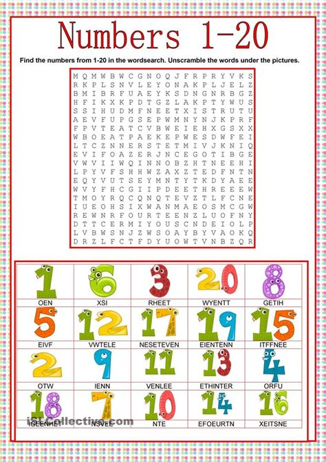 numbers wordsearch esl worksheets of the day english exercises english classroom learn