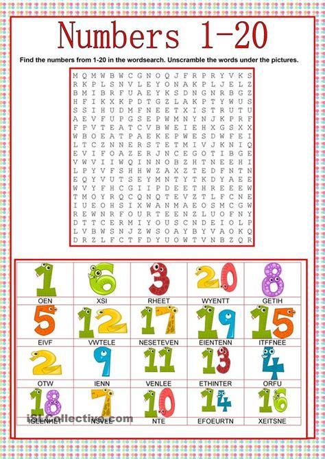 numbers wordsearch fichas de trabalho atividades em