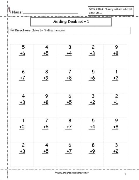 math worksheets grade doubles addition doubles