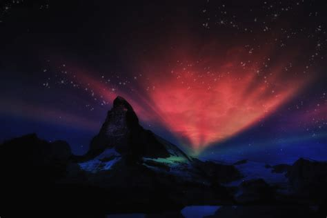 aurora   matterhorn image  stock photo public