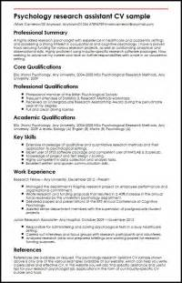psychology assistant resume exles psychology research assistant cv sle myperfectcv