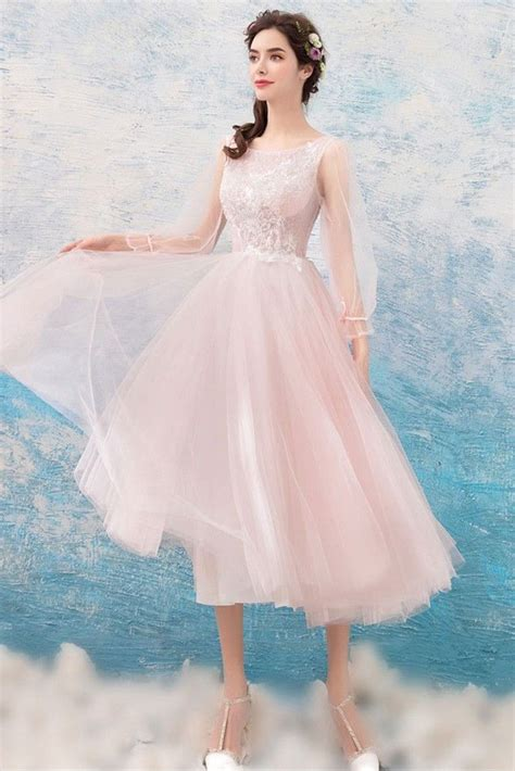 [$100.58] Cute Pink Lace Midi Prom Dress With Long Flare ...