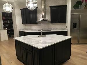 Espresso Cabinets With White Marble Countertops Kitchen