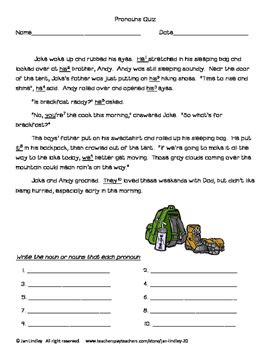 understanding   pronouns worksheets  jan lindley