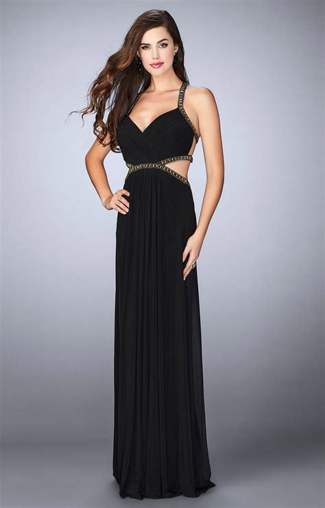 la femme  long dress  cut outs  open  prom dress