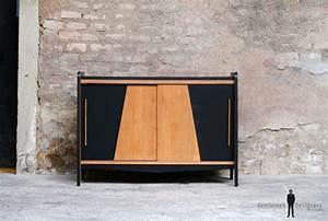 Buffet Bois Noir : meuble bas vintage pieds compas gentlemen designers ~ Teatrodelosmanantiales.com Idées de Décoration