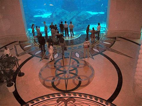 atlantis hotel aquarium dubai منظر عام للمبنى من وسط النخلة