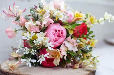 Bridal Bouquet Of Peonies Orlaya Honeysuckle Alstro And