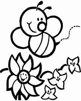 Coloring Bumblebee Happy Flowers Print Pages sketch template
