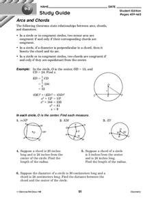 arcs and chords worksheet for 10th grade lesson planet