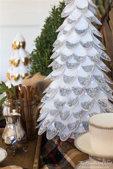 diy christmas tree plastic spoon craft  heathered nest