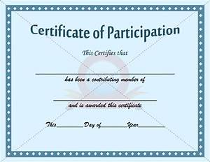 participation certificate template participation With free templates for certificates of participation
