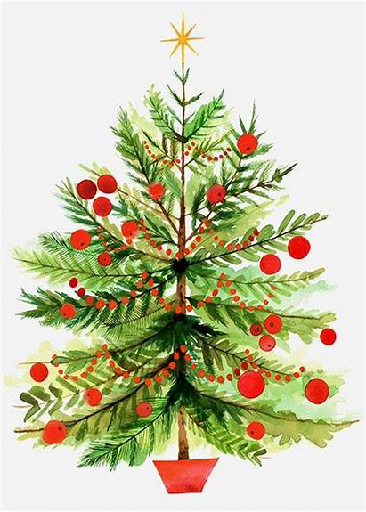 Christmas Tree Watercolor Cards Clipart Trees Merry