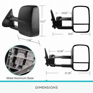 Pair Manual Extendable Towing Side Mirrors For 99