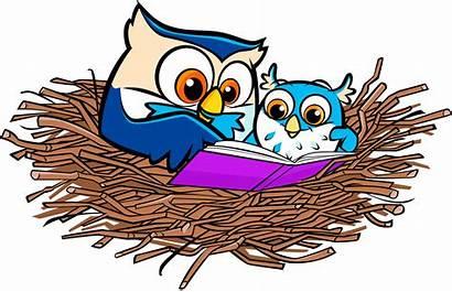 Clipart Reading Owl Nest Thanksgiving Library Books