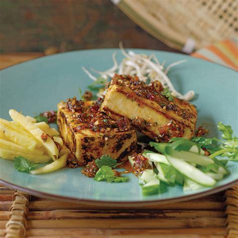 grilled tofu grilled tofu with crispy shallots recipe dishmaps