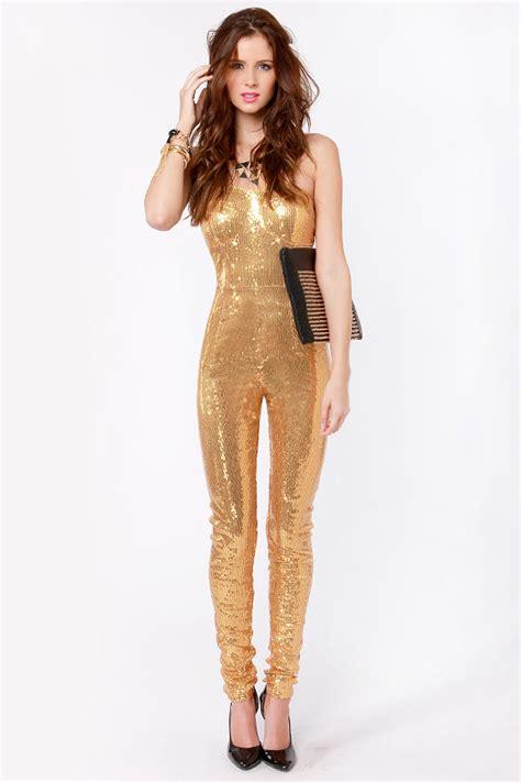 sequins jumpsuit gold jumpsuit sequin jumpsuit strapless jumpsuit