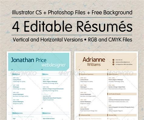 editable resume template simple printable functional