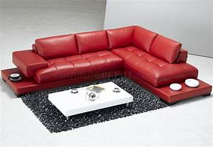 Red full leather modern sectional sofa w end tables for Sectional sofa end tables